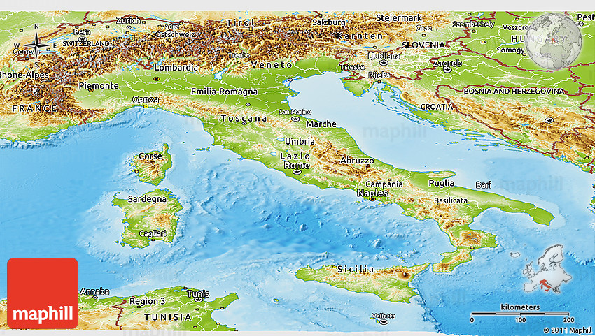 Map Of Italy With Mountains.Physical Panoramic Map Of Italy