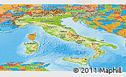 Physical Panoramic Map of Italy, political outside, shaded relief sea
