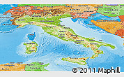 Physical Panoramic Map of Italy, political shades outside, shaded relief sea