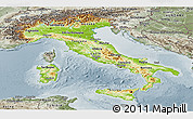Physical Panoramic Map of Italy, semi-desaturated