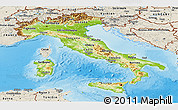 Physical Panoramic Map of Italy, shaded relief outside