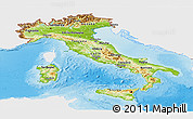 Physical Panoramic Map of Italy, single color outside