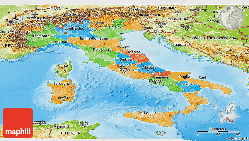 Political Panoramic Map Of Italy Physical Outside - Political map of italy