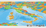 Political Panoramic Map of Italy