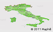 Political Shades Panoramic Map of Italy, cropped outside