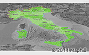 Political Shades Panoramic Map of Italy, darken, desaturated