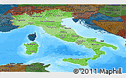 Political Shades Panoramic Map of Italy, darken, land only