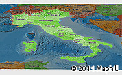 Political Shades Panoramic Map of Italy, darken