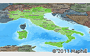 Political Shades Panoramic Map of Italy, darken, semi-desaturated, land only