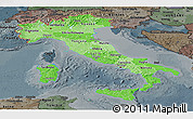 Political Shades Panoramic Map of Italy, darken, semi-desaturated