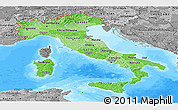 Political Shades Panoramic Map of Italy, desaturated, land only