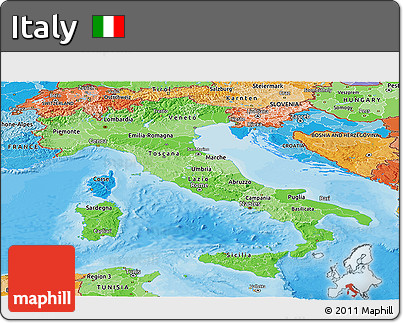 Political Shades Panoramic Map of Italy