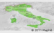 Political Shades Panoramic Map of Italy, lighten, desaturated