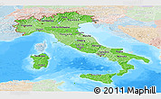 Political Shades Panoramic Map of Italy, lighten, land only