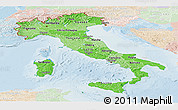 Political Shades Panoramic Map of Italy, lighten