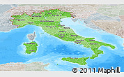 Political Shades Panoramic Map of Italy, lighten, semi-desaturated, land only