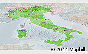 Political Shades Panoramic Map of Italy, lighten, semi-desaturated