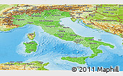 Political Shades Panoramic Map of Italy, physical outside