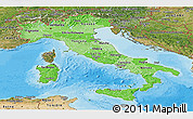 Political Shades Panoramic Map of Italy, satellite outside, bathymetry sea