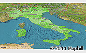 Political Shades Panoramic Map of Italy, satellite outside