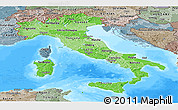 Political Shades Panoramic Map of Italy, semi-desaturated, land only