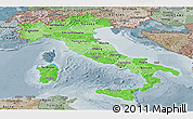 Political Shades Panoramic Map of Italy, semi-desaturated