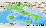 Political Shades Panoramic Map of Italy, shaded relief outside, bathymetry sea