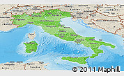 Political Shades Panoramic Map of Italy, shaded relief outside