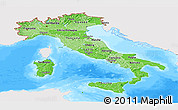 Political Shades Panoramic Map of Italy, single color outside, bathymetry sea