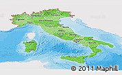 Political Shades Panoramic Map of Italy, single color outside
