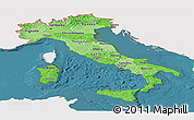 Political Shades Panoramic Map of Italy, single color outside, satellite sea