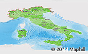 Political Shades Panoramic Map of Italy, single color outside, shaded relief sea