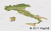 Satellite Panoramic Map of Italy, cropped outside