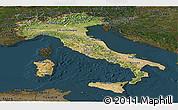 Satellite Panoramic Map of Italy, darken