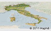Satellite Panoramic Map of Italy, lighten