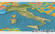 Satellite Panoramic Map of Italy, political outside, satellite sea
