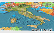 Satellite Panoramic Map of Italy, political shades outside, satellite sea