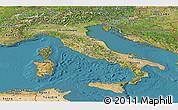 Satellite Panoramic Map of Italy