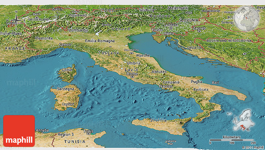 satellite map of italy Satellite Panoramic Map Of Italy