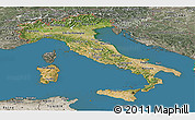 Satellite Panoramic Map of Italy, semi-desaturated, land only
