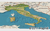 Satellite Panoramic Map of Italy, shaded relief outside, satellite sea