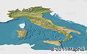 Satellite Panoramic Map of Italy, single color outside