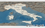 Shaded Relief Panoramic Map of Italy, darken