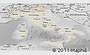 Shaded Relief Panoramic Map of Italy, desaturated