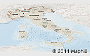 Shaded Relief Panoramic Map of Italy, lighten