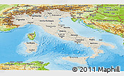 Shaded Relief Panoramic Map of Italy, physical outside