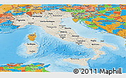 Shaded Relief Panoramic Map of Italy, political outside, shaded relief sea
