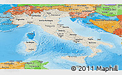 Shaded Relief Panoramic Map of Italy, political shades outside, shaded relief sea