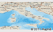 Shaded Relief Panoramic Map of Italy