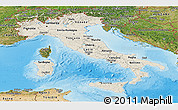 Shaded Relief Panoramic Map of Italy, satellite outside, shaded relief sea